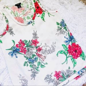 ANN TAYLOR • Petite Sheer White Floral Tank • Sml